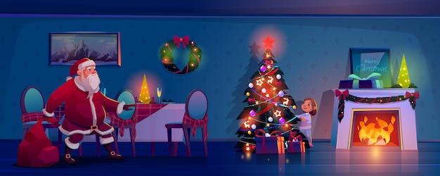 Santa claus, die in richtung zum weihnachtsbaum schleicht, um geschenkkarikaturillustration zu setzen