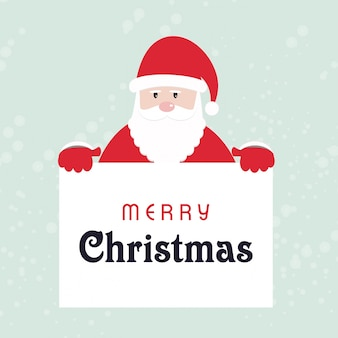 Santa claus, die plakat von frohen weihnachten hält. einfache typografie