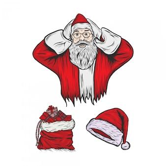 Santa claus, die weinlese-illustration graviert