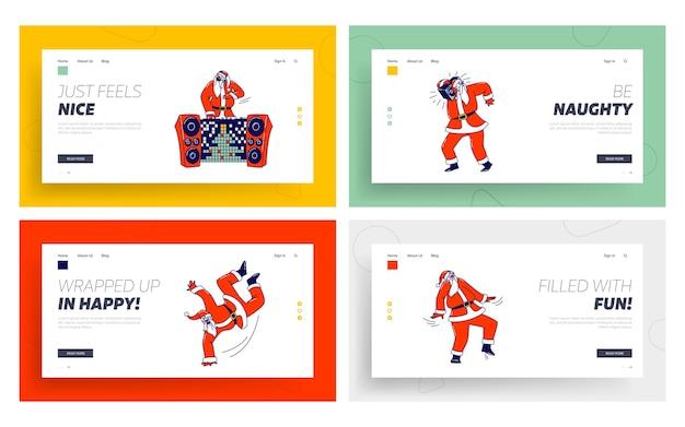 Santa claus dj in rotem kostüm und headset musik machen im night club landing page template set.