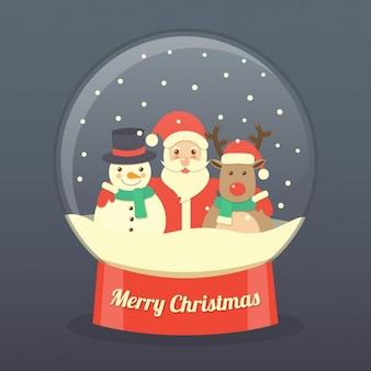 Santa claus, ein rentier und ein schneemann in einer glaskugel