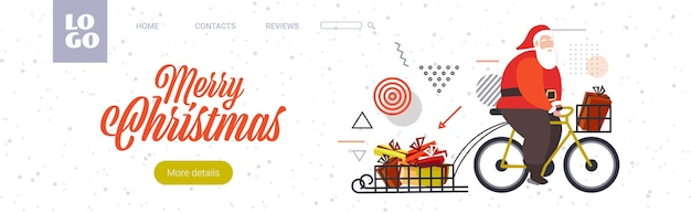 Santa claus fahrrad fahren mit geschenkboxen auf schlitten frohe weihnachten winterferien feier konzept horizontal