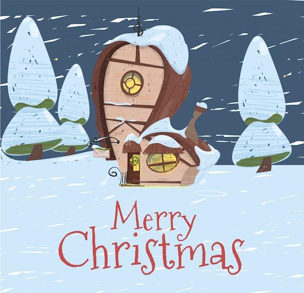 Santa claus fantastic house mit tannenzweigen
