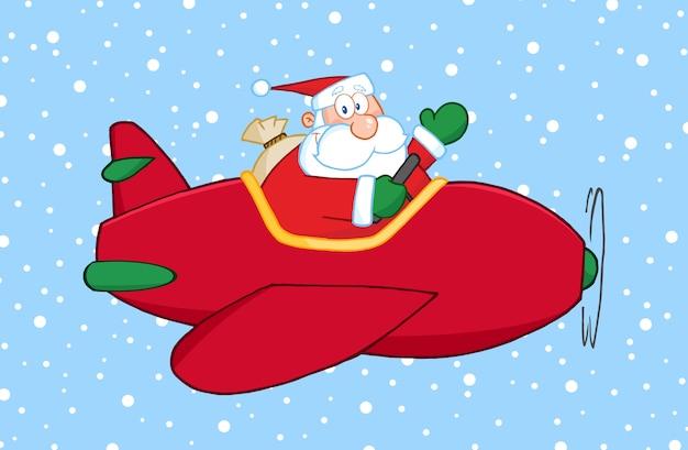 Santa claus fliegt sein weihnachtsflugzeug im schnee und winkt.