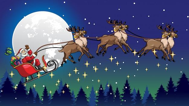 Santa claus flying reiten den schlitten mit rentieren