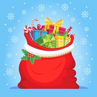 Santa claus-geschenke in der tasche