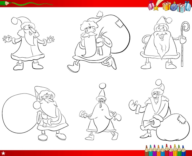 Santa claus gesetzt malbuch