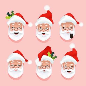 Santa claus gesichter, emotionen oder lächeln