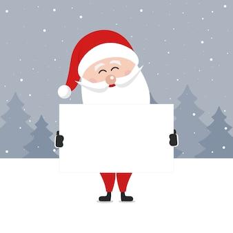 Santa claus halten leere banner frohe weihnachten gruß winter verschneite landschaft hintergrund