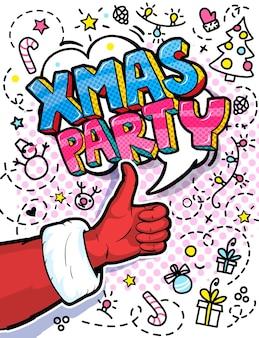 Santa claus hand in rotem anzug und fäustling mit daumen nach oben im pop-art-stil. unterschreiben sie wie und xmas party message im pop-art-stil, werbehintergrund, präsentationsplakat. vektor-illustration.