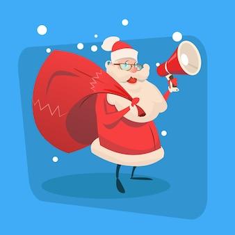 Santa claus hold megaphon geschenktüte