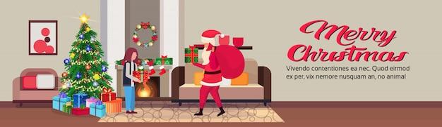 Santa claus im wohnzimmer in der weihnachtsfahne
