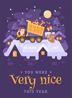 Santa claus in einem lkw, der geschenke in den kamin entlädt