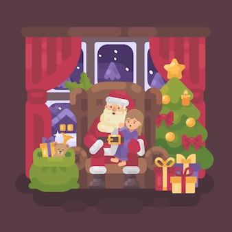 Santa claus in einem stuhl mit einem kleinen mädchen in seinem schoss