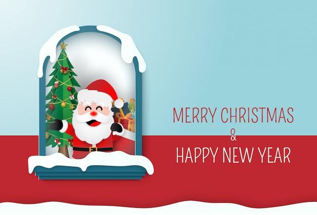 Santa claus in einer stunde mit weihnachtsbaum
