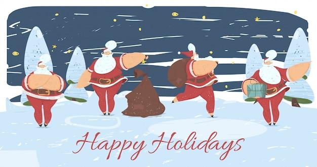 Santa claus in verschiedenen lagen frohe feiertage