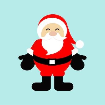Santa claus-karikatur, weihnachtskonzept, zeichen und symbol mit altem mann, vektorillustration