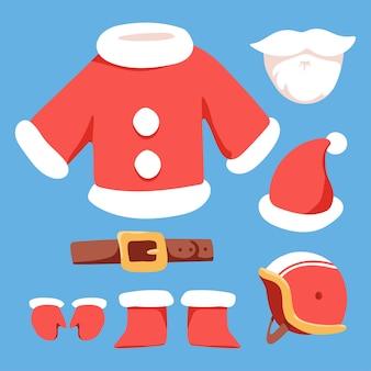 Santa claus kostüm elemente set