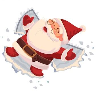 Santa claus macht einen schneeengel. vektorzeichentrickfilm-figur lokalisiert