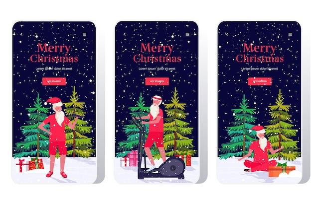Santa claus macht verschiedene übungen bärtigen mann training workout-konzept weihnachten neujahrsfeier feier smartphone bildschirme gesetzt online-mobile-app-banner