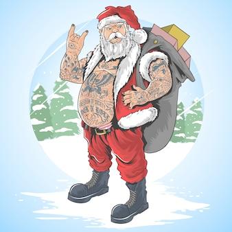 Santa claus merry christmas tattoo-vollkörper-vektorillustration