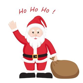 Santa claus mit braunen geschenktüte