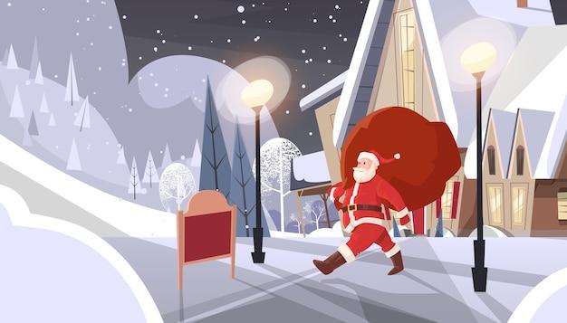 Santa claus mit dem großen geschenk-sack, der zur haus-fahne kommt
