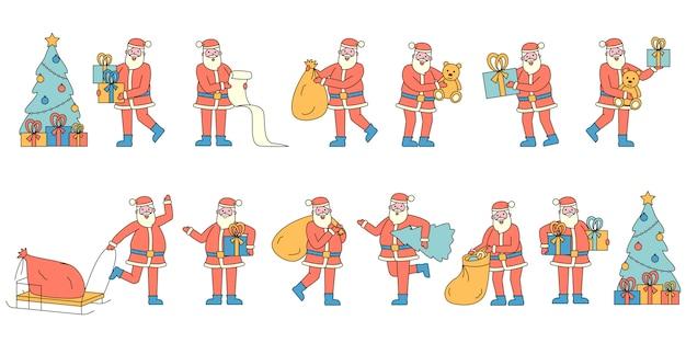 Santa claus mit den flachen ladegeräten der geschenke eingestellt. leute, die rote weihnachtskostüme tragen.