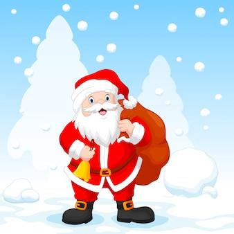 Santa claus mit einer tasche und einer glocke mit schneefallhintergrund