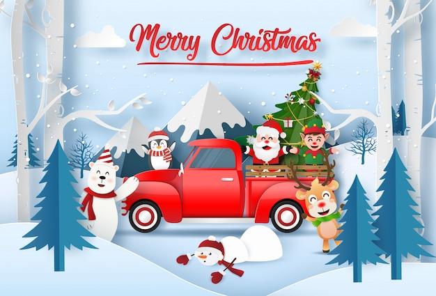 Santa claus mit freunden, die für weihnachten am berg feiern