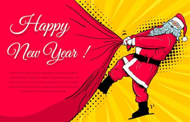 Santa claus mit geschenkbeutel-ok-gestenretrostil-pop-art.