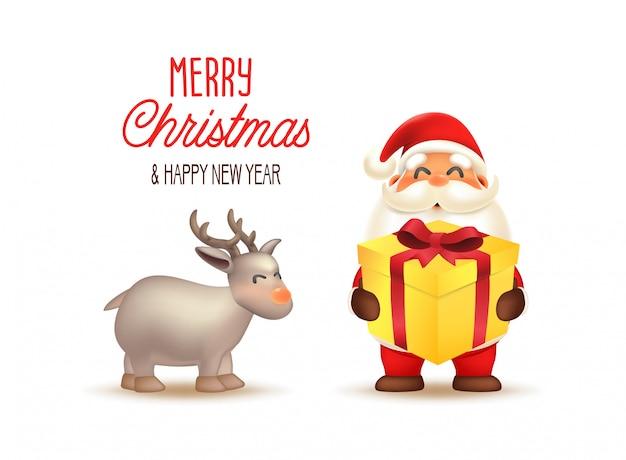Santa claus mit geschenkbox. illustration der frohen weihnachten und des guten rutsch ins neue jahr