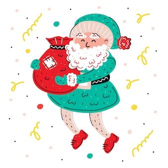 Santa claus mit gezeichneter illustration der geschenke hand. bunter weihnachtsmann mit geschenken. weihnachten, neujahr grußkarte