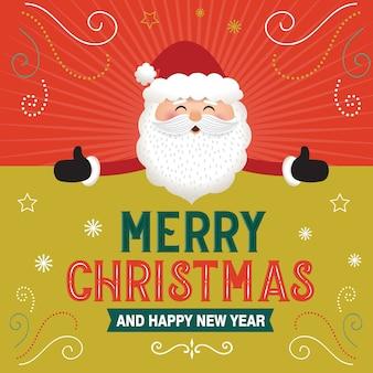 Santa claus mit großem schild, mit luxusweihnachtsverzierung, vektorillustration