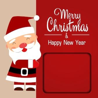Santa claus mit großem schild