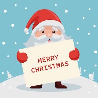 Santa claus mit karte der frohen weihnachten