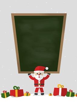 Santa claus mit leerer tafel