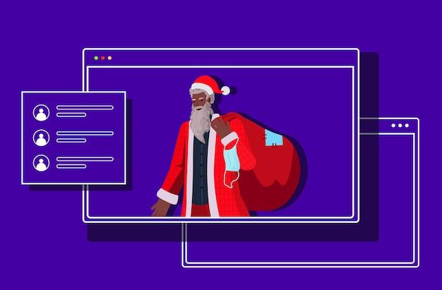 Santa claus mit maske hält sack neujahr weihnachten feiertage feier coronavirus quarantäne online-kommunikation konzept webbrowser fenster horizontale illustration