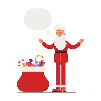 Santa claus mit offenen armen präsentiert eine tüte mit geschenken.