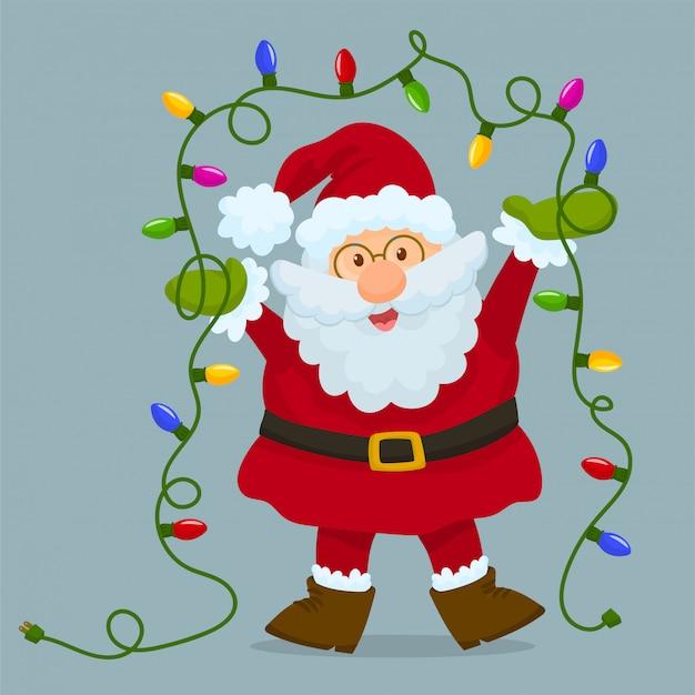 Santa claus mit weihnachtsbirnenlichtern