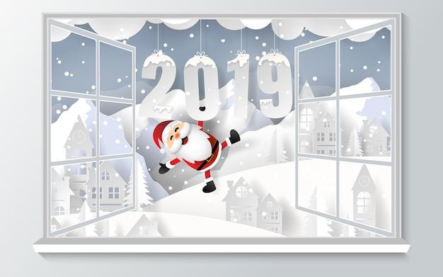 Santa claus mit wort 2019 außerhalb des fensters