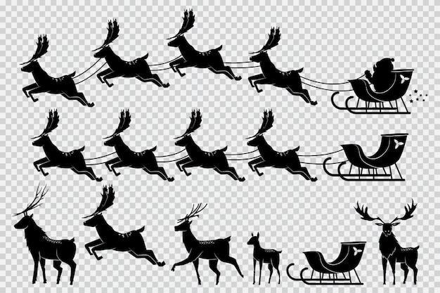 Santa claus-pferdeschlitten mit dem schwarzen schattenbildsatz des rens lokalisiert auf transparentem.