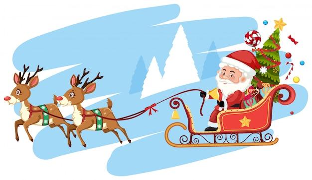 Santa claus reiten schlitten vorlage