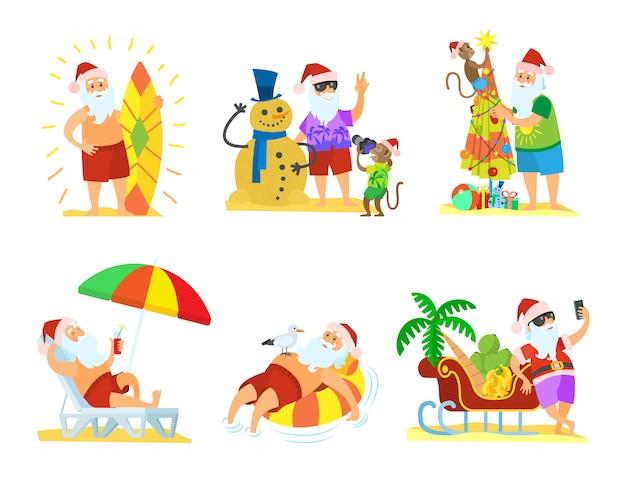 Santa claus relaxing, weihnachten am strand