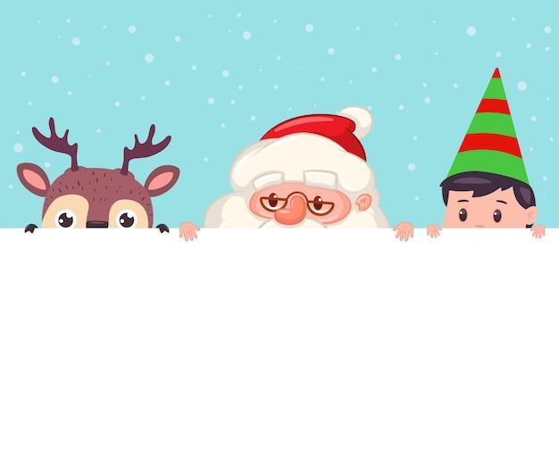 Santa claus, ren und elf, die aus leerem zeichen heraus schauen