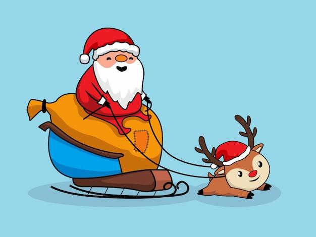 Santa claus riding carriage frohe weihnachten cartoon