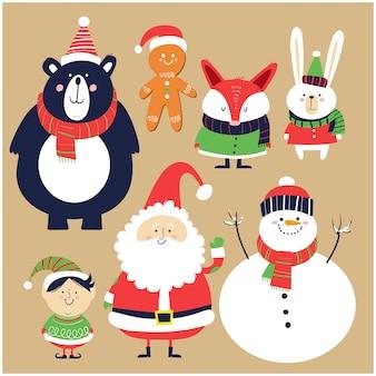 Santa claus, schneemann, elfe und waldtiere im cartoon-stil