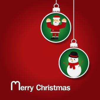Santa claus, schneemann, ren und weihnachtsbaum im schneekugelhängen