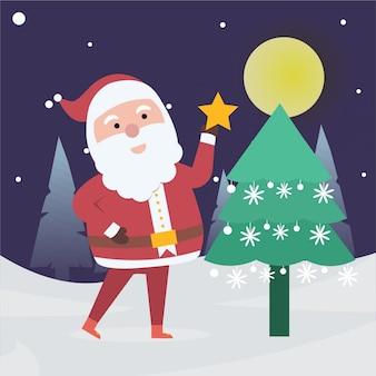 Santa claus setzt auf großen gelben stern des weihnachtsbaums. frohe weihnachtsbaum.