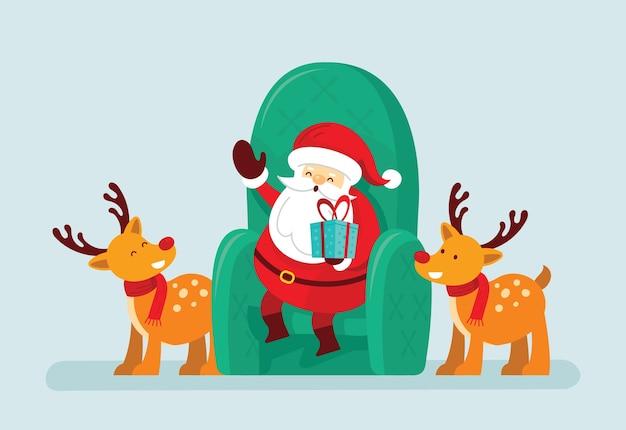 Santa claus sitzt mit rentier auf einem stuhl
